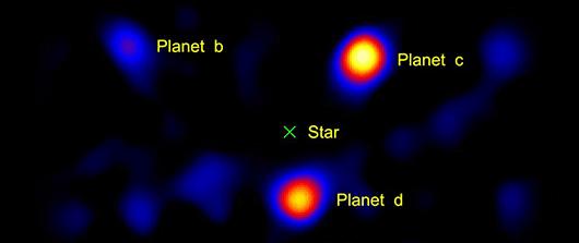 Planetas em torno da estrela HR8799 (Serabyn, Palomar)
