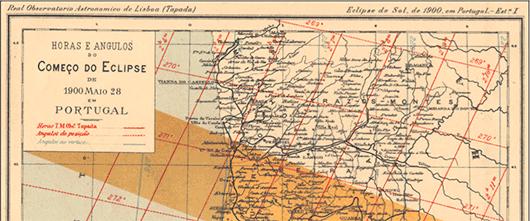 Zona de visibilidade do eclipse total do sol em 1900. Carta produzida no OAL, associada ao livro explicativo do que é o Sol.