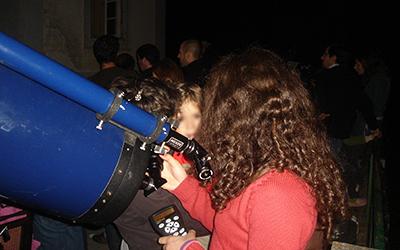 Observações astronómicas com o público, no OAL.