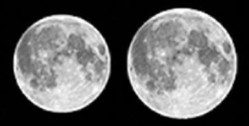 Tamanhos relativos da Lua no apogeu e no perigeu.