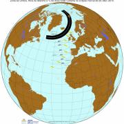 Zona de Umbra, Hora do Máximo e % da área solar coberta no Eclipse de 20-Mar-2015