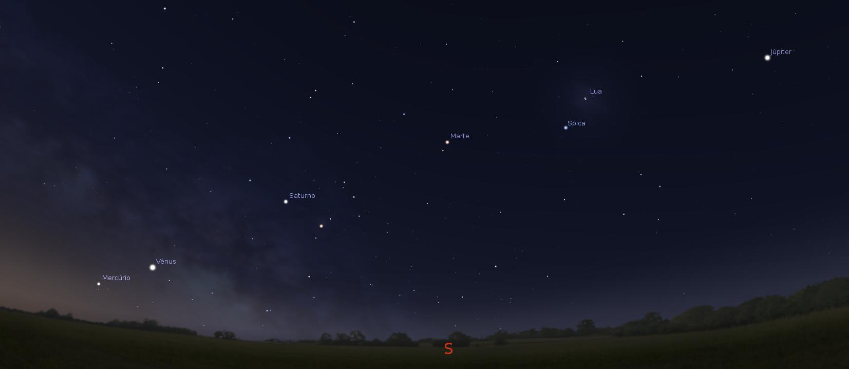 Alinhamento de 6 astros visível antes do nascer do sol dia 29 e 30 de ...
