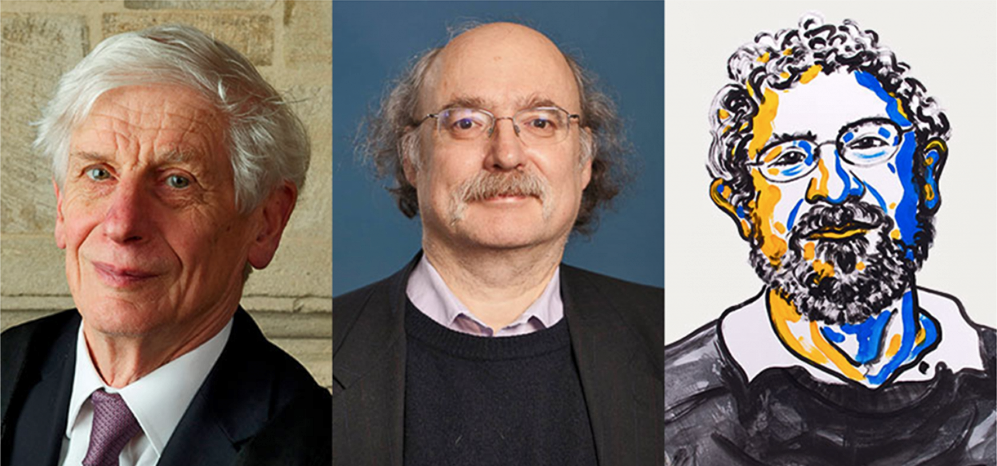 Prémios Nobel da Física 2106: David J. Thouless, F. Duncan M. Haldane e J. Michael Kosterlitz, respectivamente.