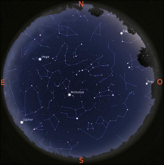 b2dd6c91 1 – Céu visível às 22:00 horas do dia 1 de junho em Lisboa mostrando o  planeta Júpiter.